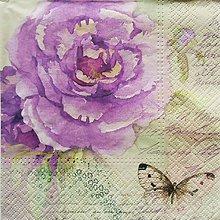 Papier - S1358 - Servítky - kvet, kvety, akvarel, vintage, motýľ, písmo - 10274442_