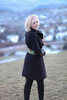 Kabáty - Čierny folk kabát. - 10276157_