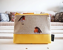 Kozmetická taška veľká režná - vtáčiky s žltou