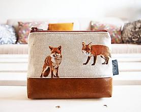 Taštičky - Kozmetická taška veľká režná - líšky s hnedou - 10274188_