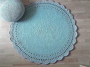 Úžitkový textil - Háčkovaný KOBEREC svetlý mentol so šedým lemom - 10275013_