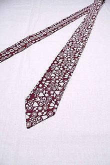 Doplnky - Pánska kravata FOLK v bordovom - 10276458_
