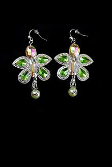 Náušnice - Ručne šité obojstranné náušnice s perličkou - 10274923_