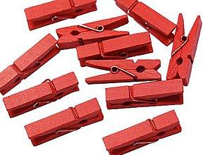Polotovary - ST103 Štipec drevený 2,5 cm  (Červená) - 10276290_