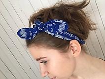 Ozdoby do vlasov - čelenka čičmany modrá - 10275641_