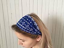 Ozdoby do vlasov - čelenka čičmany modrá - 10275646_