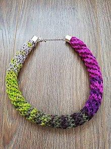 Náhrdelníky - Háčkovaný náhrdelník - špirálový (Ružová) - 10274784_