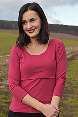 Tričko na dojčenie basic s 3/4 rukávom - vínovo červená