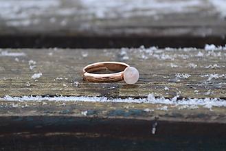 Prstene - Mesačný kameň prsteň Ag s Au - 10274291_