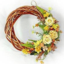 Dekorácie - Věnec celoroční - Žluto - oranžový - 10275989_