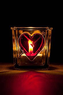 Svietidlá a sviečky - VÝPREDAJ - Valentínsky svietnik - Moje srdce horí pre Teba! - 10277194_