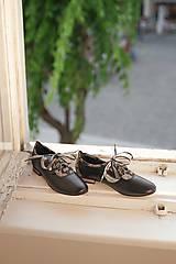 Kožené nízke topánky čierne