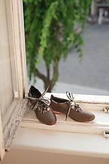Obuv - Kožené nízke topánky hnedé - 10276295_