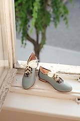 Obuv - Kožené nízke topánky modré - 10276320_
