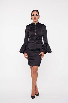 Kabáty - Dámske sako s rozšírenými rukávmi čierne - 10277164_