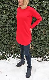 Tričká - Červené predĺžené tričko s guľatým výstrihom - 10275610_