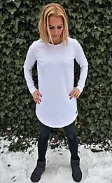 Tričká - Biele predĺžené tričko s guľatým výstrihom - 10275622_