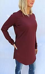 Tričká - Vínové predĺžené tričko s guľatým výstrihom - 10275639_