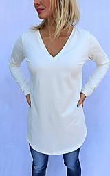 Tričká - Maslové predĺžené tričko s V strihom - 10275715_