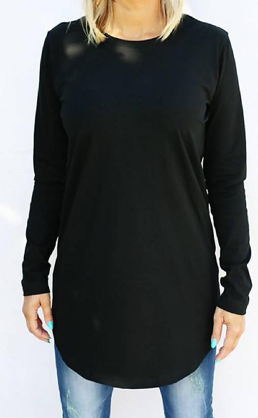 Čierne predĺžené tričko s guľatým výstrihom