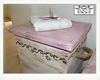 """Nábytok - Kôs na prádlo """"fialová+slonová kosť"""" :) - 10275034_"""