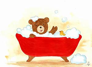 Obrázky - Macko sa kúpe, obrázok do detskej izby - 10276170_