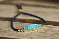 Šnúrkový náramok s achátovou drúzou - modrý