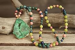 Náhrdelníky - Náhrdelník z minerálov achát, rodonit, azurit, jadeit - 10276070_
