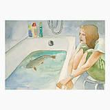 Obrazy - Kapr ve vaně - originál, akvarel - 10274500_