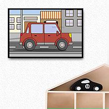 Detské doplnky - Auto v meste - digitálna grafika do detskej izbičky (s okrajmi) (hranaté päťdverové) - 10274738_