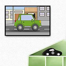 Detské doplnky - Auto v meste - digitálna grafika do detskej izbičky (s okrajmi) (hranaté trojdverové) - 10274741_