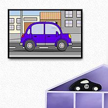Grafika - Auto - grafika do detskej izbičky (okrúhle päťdverové v meste) - 10274742_