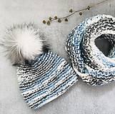 Čiapky - Čiapka a nákrčnik bielo-modro-sivá - 10278277_