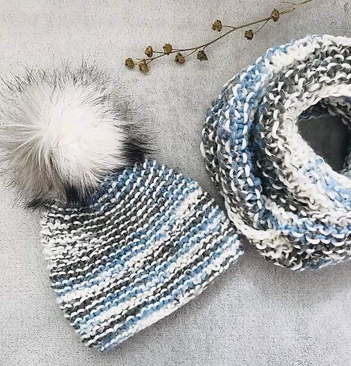 Čiapka a nákrčnik bielo-modro-sivá