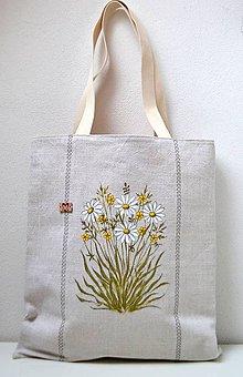 Veľké tašky - Ľanová taška ručne maľovaná - 10278570_