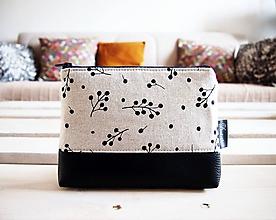 Taštičky - Kozmetická taška veľká režná - vetvičky - 10277599_