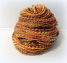 Materiál ručne robený - Jesenná - ručne pradená merino vlna s trblietavou angelinou - 10277904_
