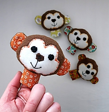 Hračky - Prstová maňuška zvieratko (opička na výber) - 10279293_