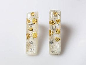 Náušnice - Kaaty náušnice perleť/zlato/striebro bodky - 10280326_