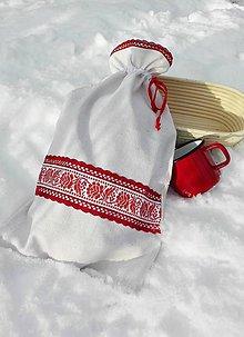 Úžitkový textil - Ľanové vrecko na veľký chlieb červenou cifrované 44 x 26 cm - 10279947_