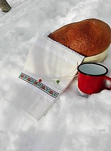 Úžitkový textil - Ľanové vrecko na menší chlieb a pečivo z ručne tkaného slovenského ľanu 30 x 20,5 cm - 10279956_
