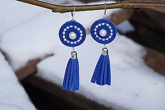 Náušnice - Náušnice so strapcom velúrové modré - 10279289_