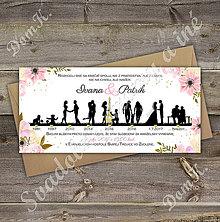 Papiernictvo - Návrh svadobného oznámenia s časovou osou a ružovými kvetmi - 10282754_