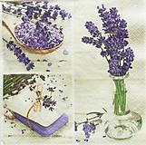 - S1373 - Servítky - mydlo, levandula, váza, kytica, kvety - 10280726_