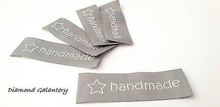 Galantéria - Handmade vysačka 50 x 20 mm - šedá - 10281068_
