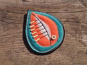 Odznaky/Brošne - Brošňa - lístok (tyrkisovo-oranžová) - 10282625_
