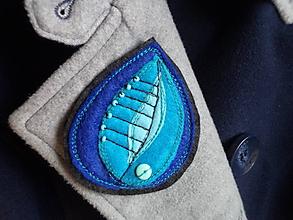 Odznaky/Brošne - Brošňa - lístok (modro-tyrkisová) - 10282630_
