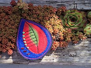 Odznaky/Brošne - Brošňa - lístok (modro-červeno-zelená) - 10282632_