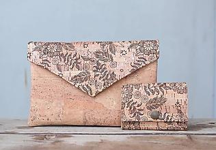 Peňaženky - Korková peňaženka S čierne kvety - 10281486_