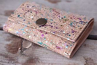 Peňaženky - Korková peňaženka S dúhové fľaky - 10281510_